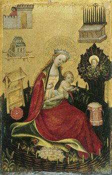 The Virgin and Child in the Hortus Conclusus (left wing), c 1410, Anonymous German Artist active in Westphalia