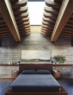 justthedesign: Nice solid oak loft space detail, combined with the rough back wall. ViaCabbage Rose.