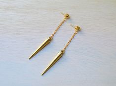 Gold Plated Spike Drop Dangle Earrings  Antique Gold Plated