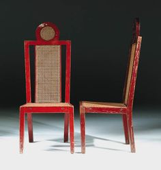 Pair of painted and caned chairs by Omega Studio, Richard Fry