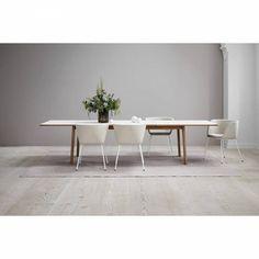 Ana Extendable Dining Table - White Laminate Top, Oak White Dinning Table, Oak Table, Laminate Table Top, White Laminate, Extendable Dining Table, Colorful Furniture, Danish Design, Apollo Bay, Masons