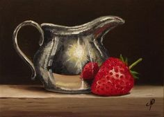 "Daily Paintworks - ""Strawberry and Silver"" - Original Fine Art for Sale - © Jane Palmer Painting Still Life, Still Life Art, Acrilic Paintings, Still Life Images, Apple Art, Fruit Art, Watercolor Rose, Still Life Photography, Conceptual Art"