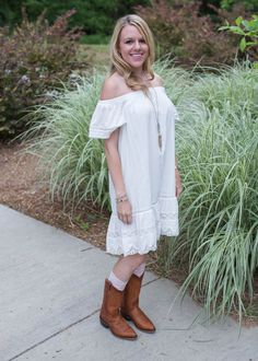 The perfect spring or summer outfit! An off the shoulder dress, gorgeous Frye cowboy boots, and @Bootights to wear under your boots! #bootights3ways