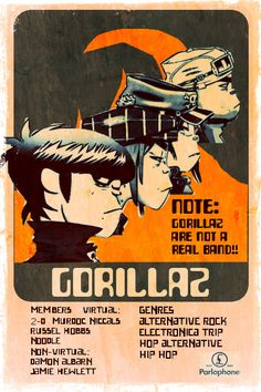 Gorillaz Poster and Vintage Art A4 Poster, Poster Wall, Poster Prints, Bedroom Wall Collage, Photo Wall Collage, Rock Posters, Band Posters, Film Posters, Vintage Music Posters