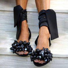 SHOES :: Shop sandals :: New Arrivals - Elina Linardaki - Artisanal Leather Sandals Ankle Strap Flats, Ankle Straps, Beaded Sandals, Fashion Heels, Black Crystals, Couture, Leather Sandals, Open Toe, Lace Up