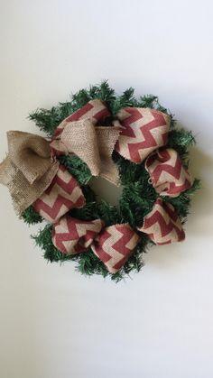 Modern Chevron Burlap Holiday Wreath by Gigibribri on Etsy
