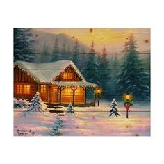 Hadley House Co 'A Christmas Cabin' by Abraham Hunter Painting Print on Plaque Size: H x W x D Wood Wall Decor, Wood Wall Art, Painting Prints, Wall Art Prints, Gifts For An Artist, Comfort And Joy, Garden Of Eden, Photorealism, Christmas Art