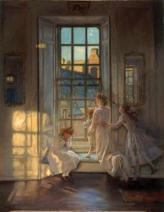 The Flight of the Swallows - John Henry Lorimer (1906)  The work depicts the elegant interior of an Edwardian household. A mother kneels on a window cushion as she and her three children look out the window. The sun seems to be setting as the room and the sky are lit with a warm glow. One of the children is seen sitting with her face in her hands, as if crying over the loss of summer. The other two children stand with their mother waving goodbye to the swallows.