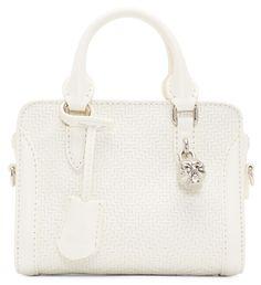 Alexander McQueen White Woven Leather Mini Padlock Bag Alexander Mcqueen Clothing, Designer Purses, Purses And Bags, Couture Handbags, Designer Handbags, Designer Wallets