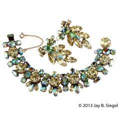 Regency Yellow & Green Rhinestone Bracelet Earrings Set