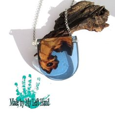 Blue driftwood necklace reclaimed wood pendant resin wood necklace wood and…