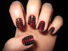 corset nail art can be done on short nails! ....Manicure ... Nails. www.SimpleNailArtTips.com