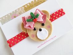 Christmas Headband- Baby/Girls Felt Headband, Christmas Teddy Bear Headband, Red and Metallic Gold Polka Dot Headband