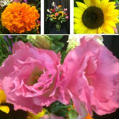 Something beautiful for your Monday! It's a summer soiree in a vase with gorgeous sunflowers, pink The Gardener's Workshop lisianthus, roses in three different colors, heavenly scented orange marigolds, white tuberoses, carnations, liatris, electric coxcomb and tansy. Cheers! #somethingbeautiful #flowers #wmbg #williamsburgva #lovewmbg