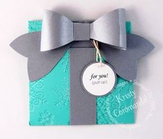 Cute gift card holder that looks like a gift. Using Endless Wishes, Gift Bow die