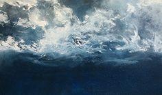 "OPT.15.2.  'STORM' by Derek Kaplan Artist quality acrylic paint ~ 34"" x 60"""