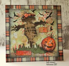 Scarecrow And Friends using Tim Holtz/Sizzix Scarecrow, Stampers Anonymous Pumpkinhead and Ideaology Christmas Design Tape