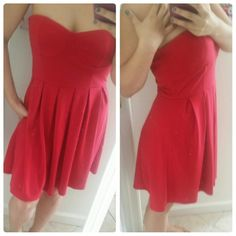 """Wishes Wishes Wishes Red Dress Red """"Wishes Wishes Wishes"""" Strapless Dress  26 & 1/2 inches from the top middle of the bust to  the bottom hem.  Silicone strip on inside top seam    *Don't like the price?? I'm always down for offers!* Wishes Wishes Wishes Dresses Strapless"""