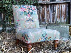Restored Victorian Slipper Chair by Vintage 57 www.vintage57.com