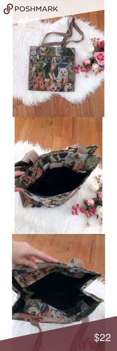Vintage 80's Cat Tapestry Tote Bag 🌿🐱 Awesome one of a kind vintage tote bag! Features a soft neutral toned tapestry with a super cute kitty print throughout. Lots of space inside to store everything you need! In great gently used vintage condition. A perfect bag for every cat lovers closet! Super unique piece :) Vintage Bags Totes
