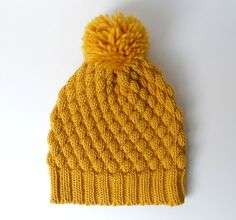 Alpaca Wool Pom Pom Knit Hat, Chunky Beanie, Mustard Knitted Hat, Yellow Winter Hat - $42.00