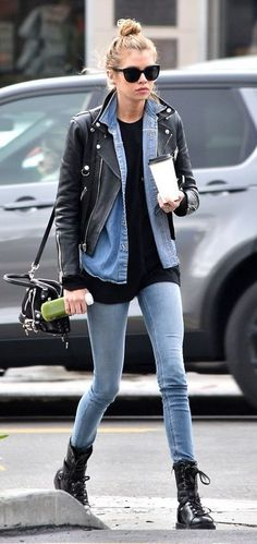 Stella Maxwell looks hipster-chic in leather and denim outfit - . Stella Maxwell looks hipster-chic in leather and denim outfit - the celebrity style Mode Outfits, Winter Outfits, Casual Outfits, Fashion Outfits, Womens Fashion, Fashion Tips, Hipster Chic, Stella Maxwell, Leather Jacket Outfits