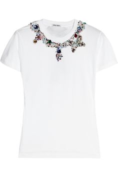 Introduce some of Miu Miu's signature magic into your wardrobe with this jeweled cotton-blend T-shirt. Sparkling with kaleidoscopic faux pearl, bead and diamanté embellishments, it's the perfect nod to the label's playful glamour.