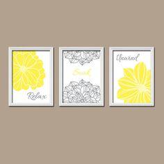 Yellow Bathroom Wall Art Canvas Or Prints Bright Yellow Bathroom Artwork Relax Soak Unwind Quote Flower Burst Petals Set Of 3 Bath Decor