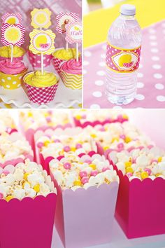 Sweet Summertime Pink Lemonade Birthday Party pink and yellow birthday party desserts and printables Yellow Birthday Parties, Birthday Party Desserts, Birthday Brunch, Brunch Party, First Birthday Parties, Birthday Party Decorations, Birthday Ideas, 1st Birthdays, 3rd Birthday
