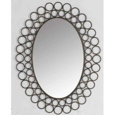 Metal ringlet framed oval art deco wall mirror