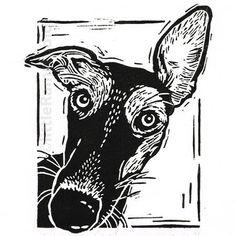 Whippet - Linocut Print