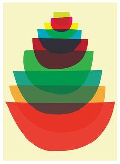 Bowl Stack art print, Strawberryluna