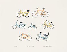 Impressão a 4 cores em tipografia.    Título: Sete Bicicletas  Técnica: Tipografia  Dimensão do Suporte:   44 x 34,5 cm  Papel: Fabriano Artistico  Branco 300g/m2  100% Algodão s/cloro, s/ácido     Assinada: Nuno Neves  Datada: 2012    200 exemplares assinados   numerados de 1/200 a 200/200