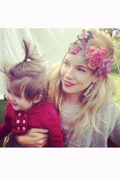 Sienna Miller with her baby daughter