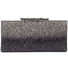 Glitter 'celeste' Clutch ($925) ❤ liked on Polyvore featuring bags, handbags, clutches, grey, grey handbags, clasp handbag, jimmy choo clutches, glitter purse and clasp purse
