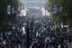 Spectators line Wembley Way as they arrive for the NFL game between the New York Jets and the Miami Dolphins and at Wembley Stadium in London, Sunday, Oct. 4, 2015. (AP Photo | Tim Ireland)
