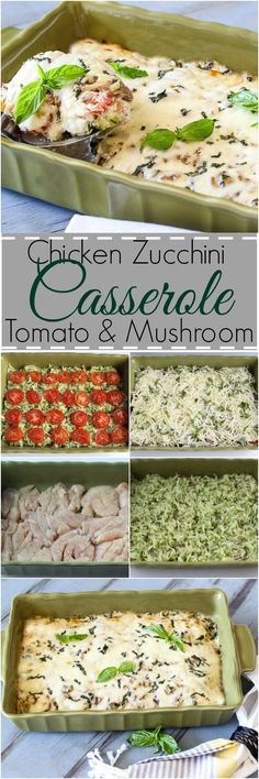 Chicken, Zucchini, Tomato, Mushroom and Cheese Casserole. ValentinasCorner.com