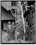 A picture taken during the period of industrialization where numerous young boys are working as miners. This picture emphasizes the negative side of industrialization, and how much America has changed since then.