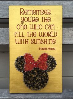 String art Minnie Mouse painted quote by FindingOurLittleWans (Kids Wood Crafts Friends)