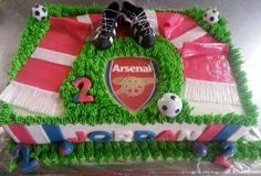 Arsenal themed soccer birthday cake for Jordan with fondant scarf