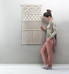 LARGE Macrame wall hanging color of natural cotton 100% handmade 100% natural cotton cord Size: wooden stick: 65 cm (25,6'') length of woven – from top of wood to bottom of fringe: 120 cm (47,2'') We ship WORLDWIDE! Shipping to Europe normally takes 5-8 working days, to US, Canada –