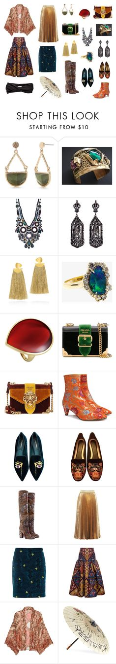 """Exotic Asia"" by marina-larnemark ❤ liked on Polyvore featuring New Directions, Ayala Bar, Amrapali, Lizzie Fortunato, Kimberly McDonald, Ippolita, Prada, Beau Coops, Nicholas Kirkwood and Kenzo"