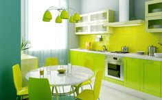 Mesmerizing Lime Green Kitchen Design Ideas With Cool Round Dining Furniture Design Also Minimalist Kitchen Cabinets And Pretty Hanging Light Design Mesmerizing Modern Kitchen Ideas for Comfortable Cooking Area Kitchen
