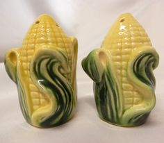 Vintage Ears of Corn Salt & Pepper Shakers Porcelain Ceramic