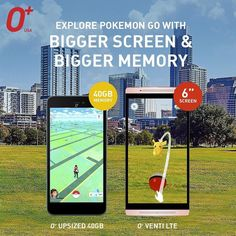 "What better way to play #PokemonGo than on a phone with bigger screen and bigger memory! O Venti LTE has a whopping 6"" widescreen while O Upsized is also pretty big at 5.5""! Catch them all with 40GB bigger memory! #ExploreVenti #OplusUSA #OplusVentiLTE #OplusUpsized #tech #android #phone #gadget #pokemon #teamValor #teamInstinct #teamMystic #trends #techie #gamer"