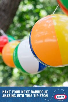 KRAFT Cheese Summer BBQ IDEA: Beach balls aren't just for play. Hang these fun garlands around your backyard pool party. Backyard Pool Parties, Summer Pool Party, Backyard Bbq, Summer Bbq, Bbq Party, Luau Party, Beach Party, Birthday Bbq, Summer Party Decorations