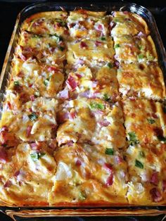 Farmer's Casserole  3 cups frozen hash browns 3⁄4 cup shredded monterey jack pepper cheese 1 cup cubed cooked ham 1⁄4 cup green onion, well chopped 4 well beaten eggs 1 (12 ounce) can evaporated milk 1⁄4 teaspoon black pepper 1⁄2 teaspoon salt  Directions Grease 2 quart rectangular baking dish. Arrange potatoes evenly on bottom of baking dish. Sprinkle with cheese, ham, onions. Combine milk and eggs and seasonings. Pour over potatoes and cheese. Refrigerate over night. Bake at 350 for 40-50…