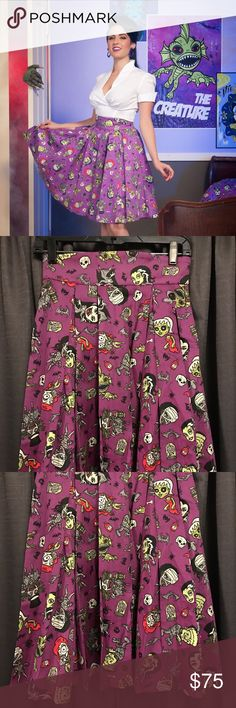 Pinup Girl Clothing - Little Jun monster skirt Pinup Girl Clothing - Little Jun - BRAND NEW WITH TAG - purple monster print skirt - SOLD OUT ONLINE - size M - waist 26 to 30 inch - elastic back to allow for a perfect fit - beautiful print - MAKE AN OFFER! Pinup Girl Clothing Skirts Circle & Skater