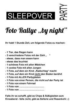 Foto-Rallye Sleepover- Party sw blanko vorschau