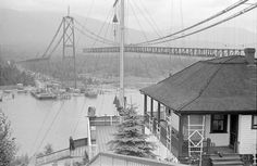 [View from the Prospect Point signal station of the Lions Gate Bridge under construction] - City of Vancouver Archives Under Construction Theme, Construction City, West Coast Canada, Lions Gate, Iconic Photos, Historical Architecture, Most Beautiful Cities, Vancouver Island, Old City
